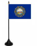 New Hampshire Desk / Table Flag with plastic stand and base.